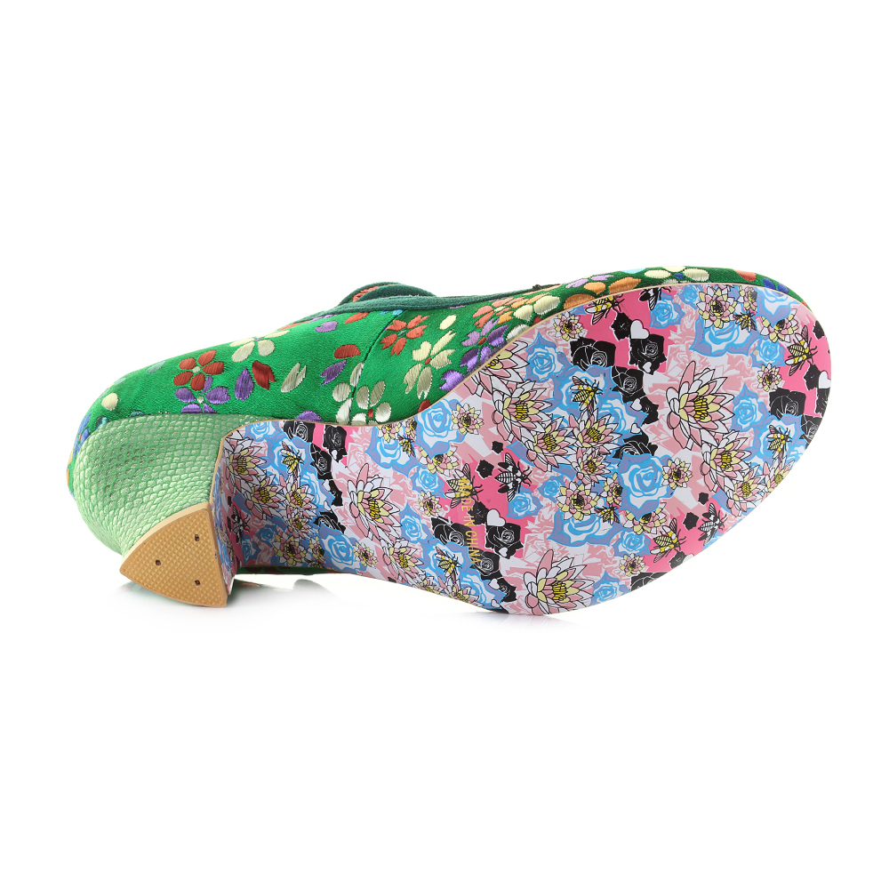 1a9460ec94e Details about Womens Irregular Choice Nicely Done Green Floral Mary Jane  Shoes Size
