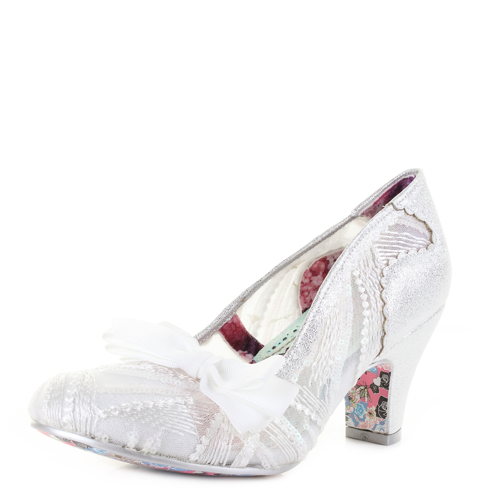 Silver Wedding Shoes.Details About Womens Irregular Choice Palm Cove Silver Wedding Bridal Shoes Size