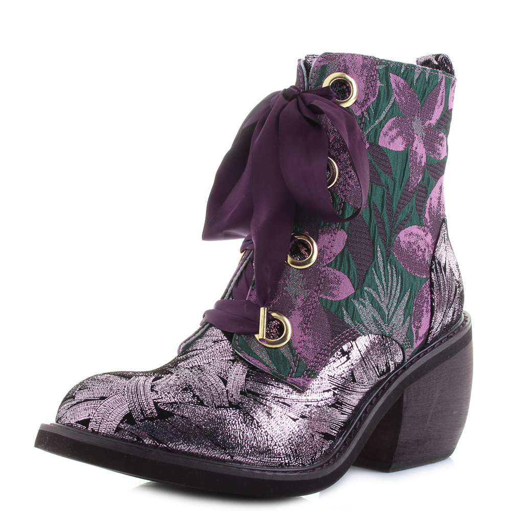 new products cheaper uk cheap sale Details about Womens Irregular Choice Getaway Pink Black Floral Metallic  Boots UK Size