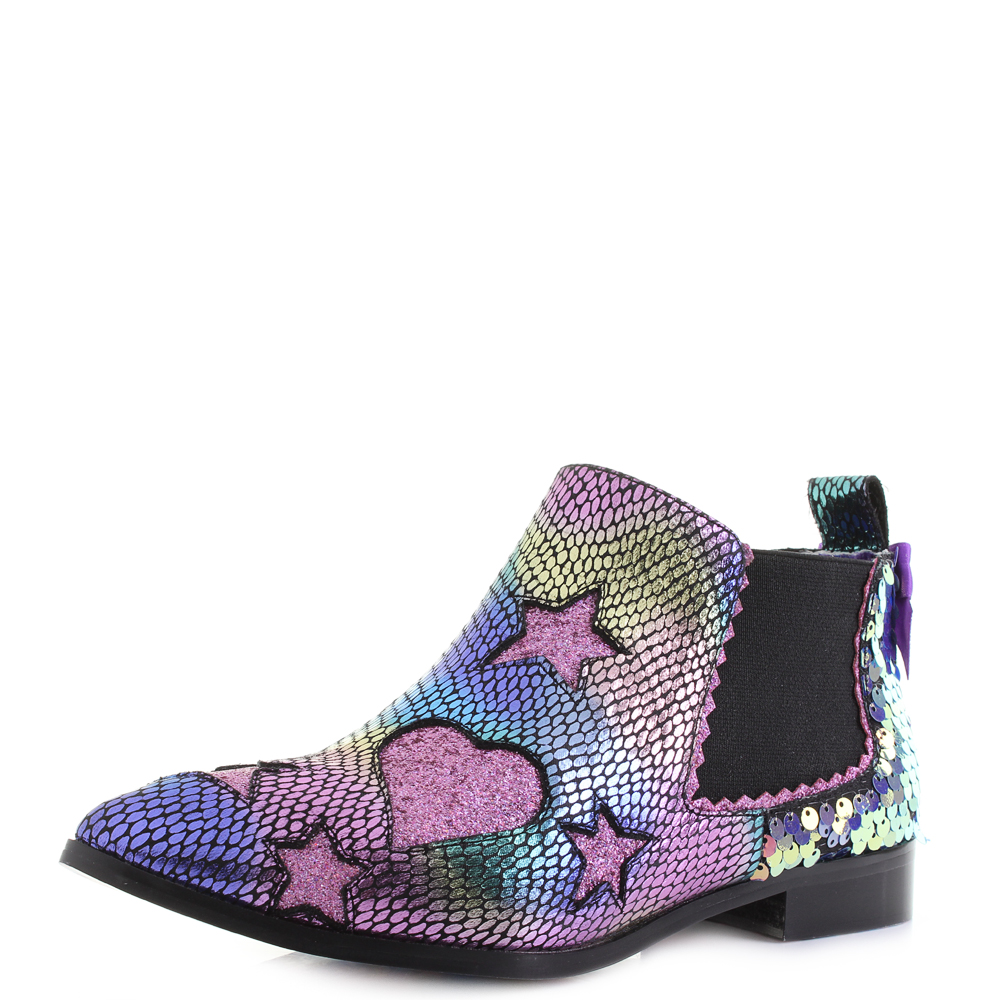 free shipping another chance fantastic savings Details about Womens Irregular Choice Starlight Empress Chelsea Boots  Purple Black UK Size