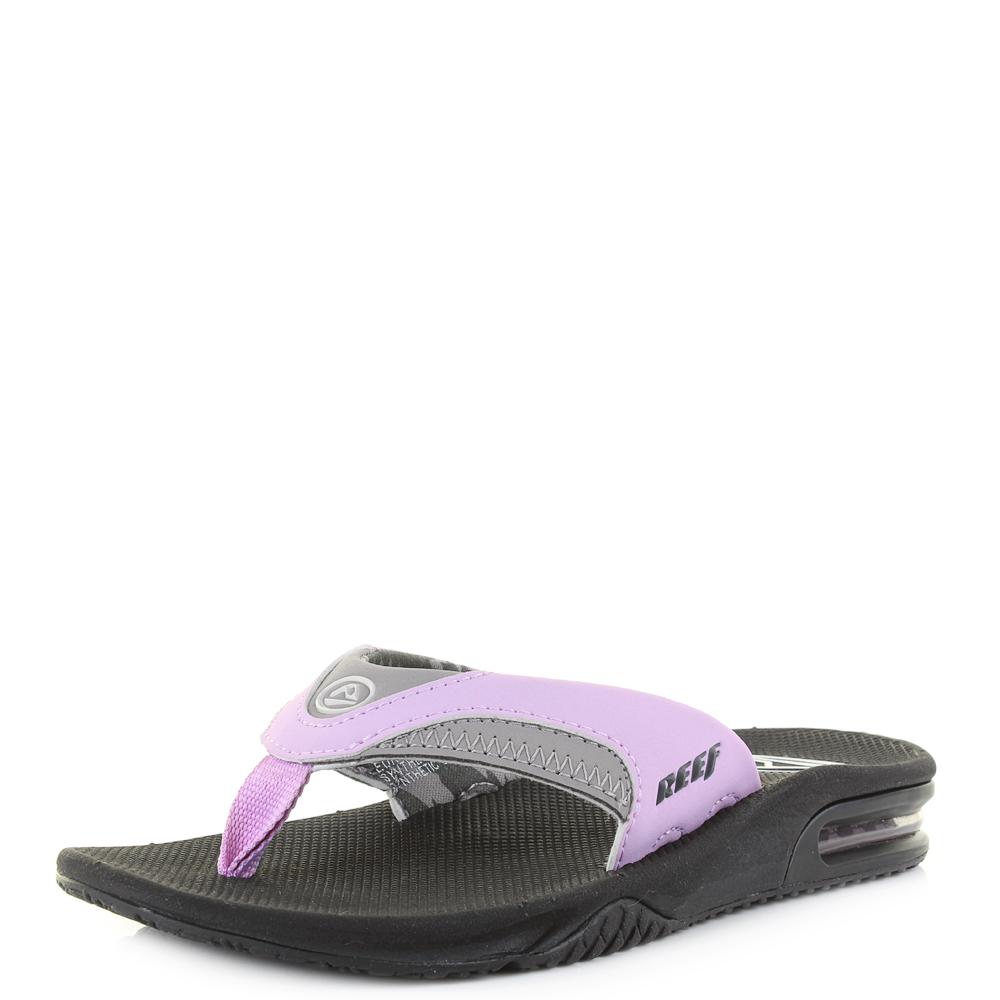 9a7099d8b Womens Reef Fanning Grey Purple Black Casual Toe Post Flip Flops Shu Size