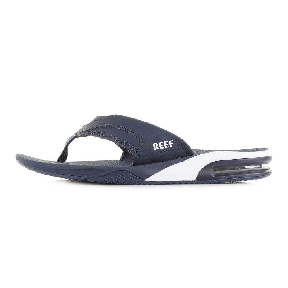 027aec4dd Mens Reef Fanning Navy Blue White Sporty Thong Flip Flops Sandals ...