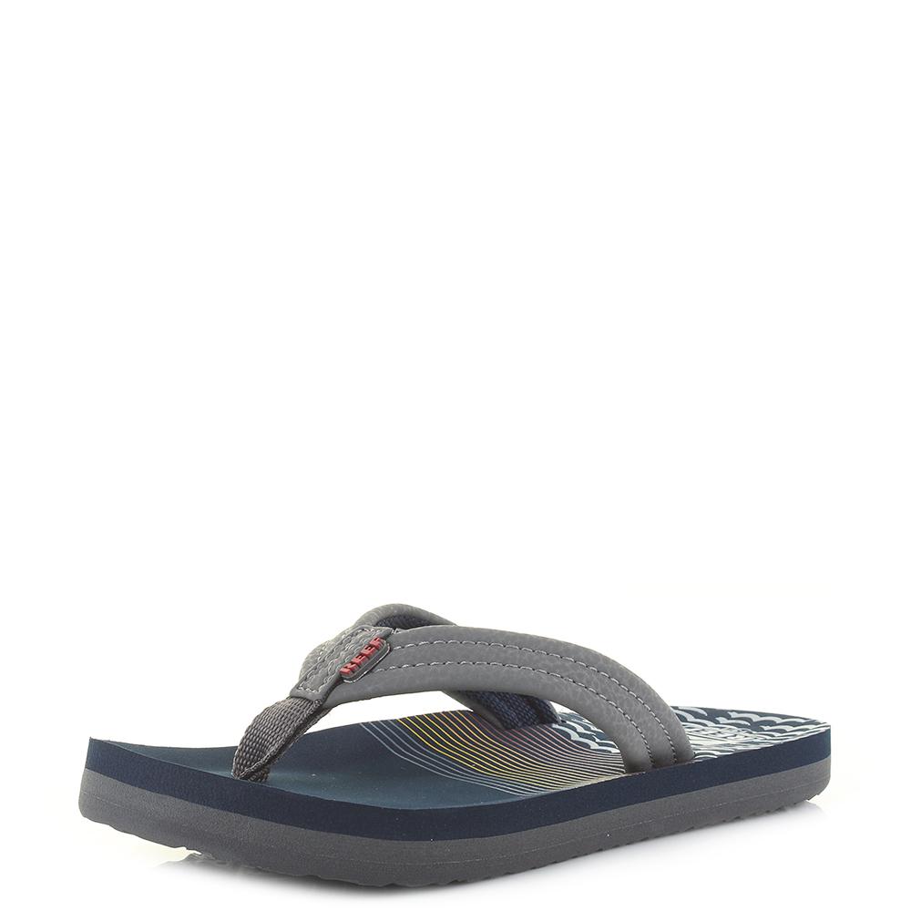 Boys Reef AHI Blue Nights toe Post Flip Flops Sandals Sz Size