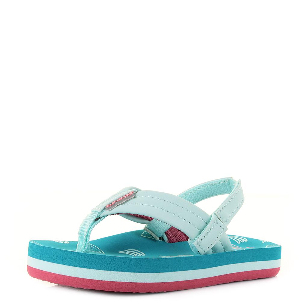 69e9b092c623 Kids Girls Reef Little AHI Fruits Blue Green Comfort Beach Flip Flop Sandal  Shu