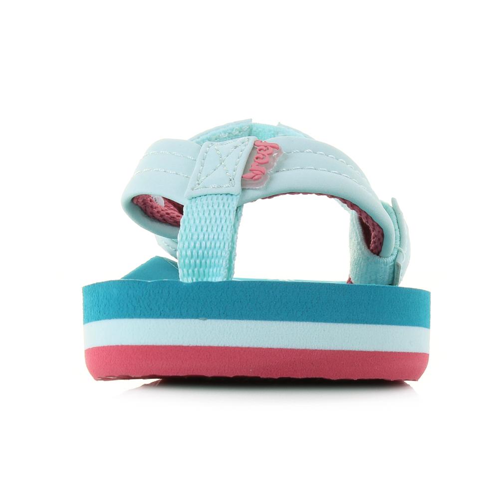 b21093ce432a3 Kids Girls Reef Little AHI Fruits Blue Green Comfort Beach Flip Flop ...