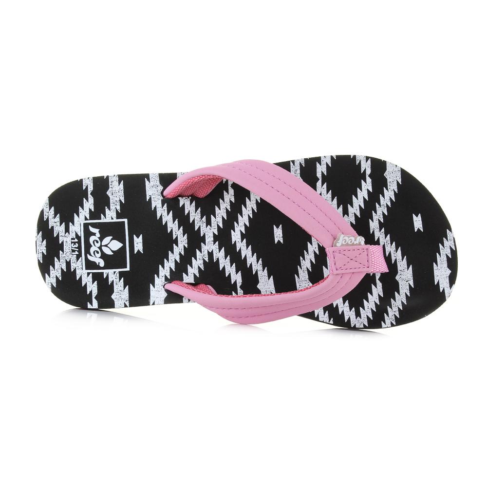 77c76caefaa8 Kids Girls Reef AHI Loretto Pink Black Comfort Beach Flip Flop Sandals Shu  Size