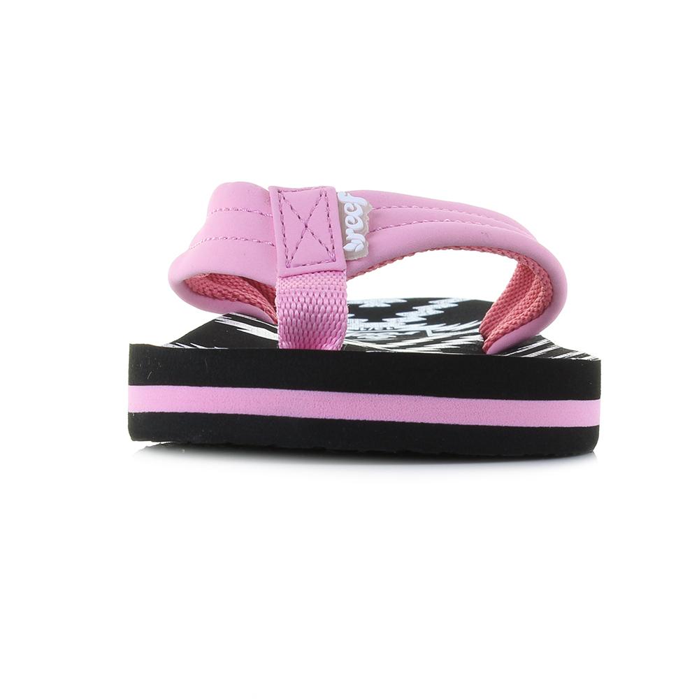 1bf68a810ec2 Kids Girls Reef AHI Loretto Pink Black Comfort Beach Flip Flop ...