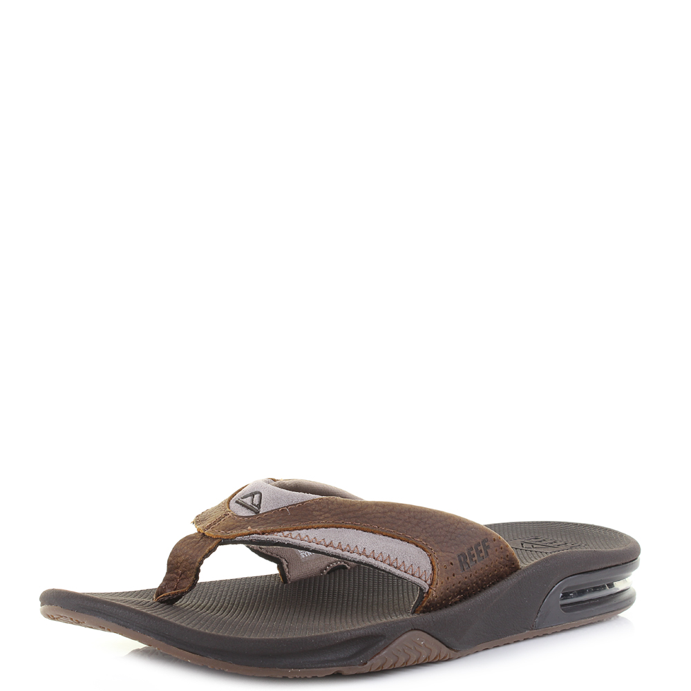 f415645eef22 Details about Mens Reef Fanning Leather Brown Classic Sporty Thong Flip  Flops Shu Size