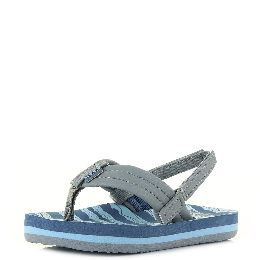377475d8d Kids Boys Reef Little AHI Blue Grey Lines Comfort Beach Flip Flop Sandals  Shu S