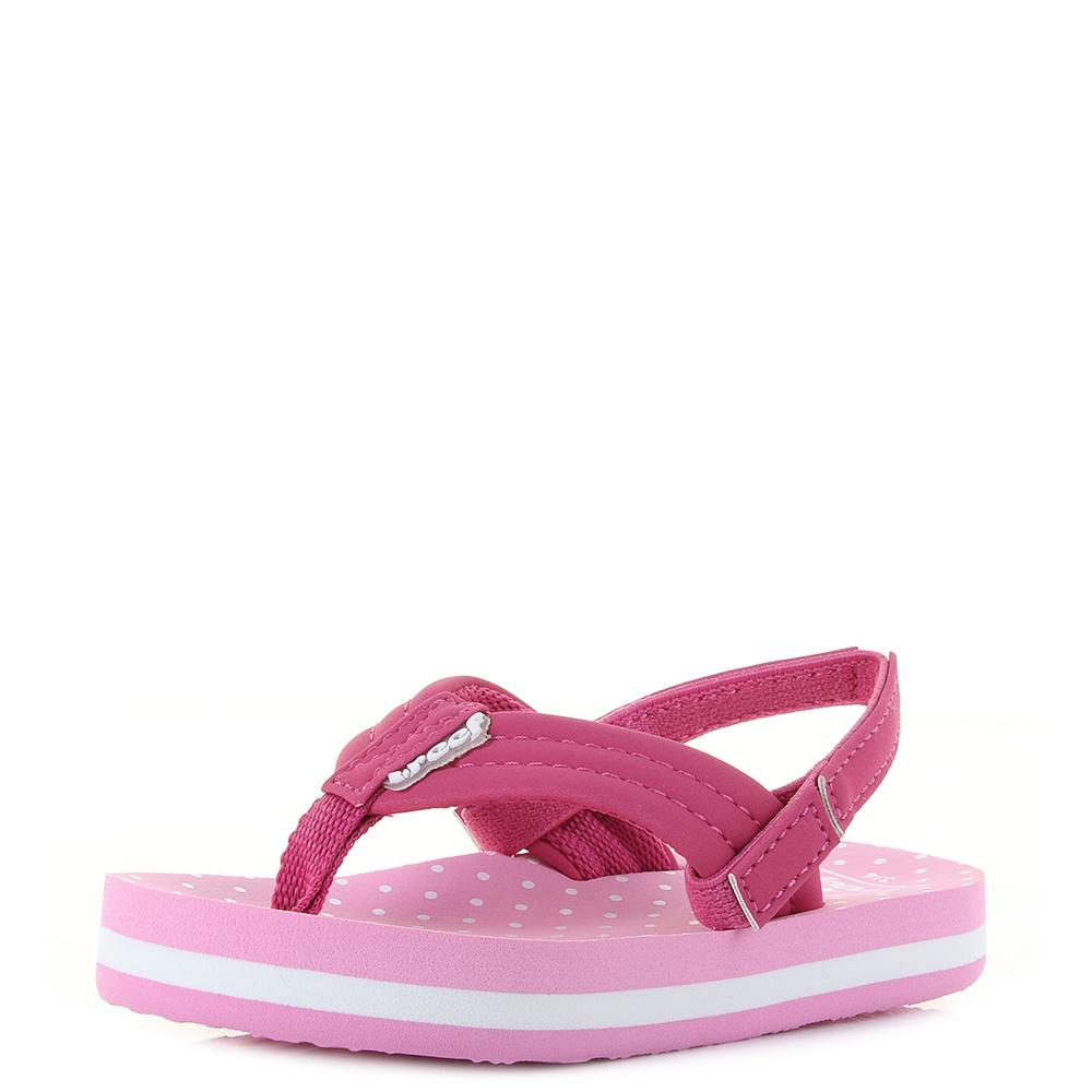 a51edde1a46b Kids Girls Reef Little AHI Pink Polka Dot Comfort Beach Flip Flop Sandals  Shu S