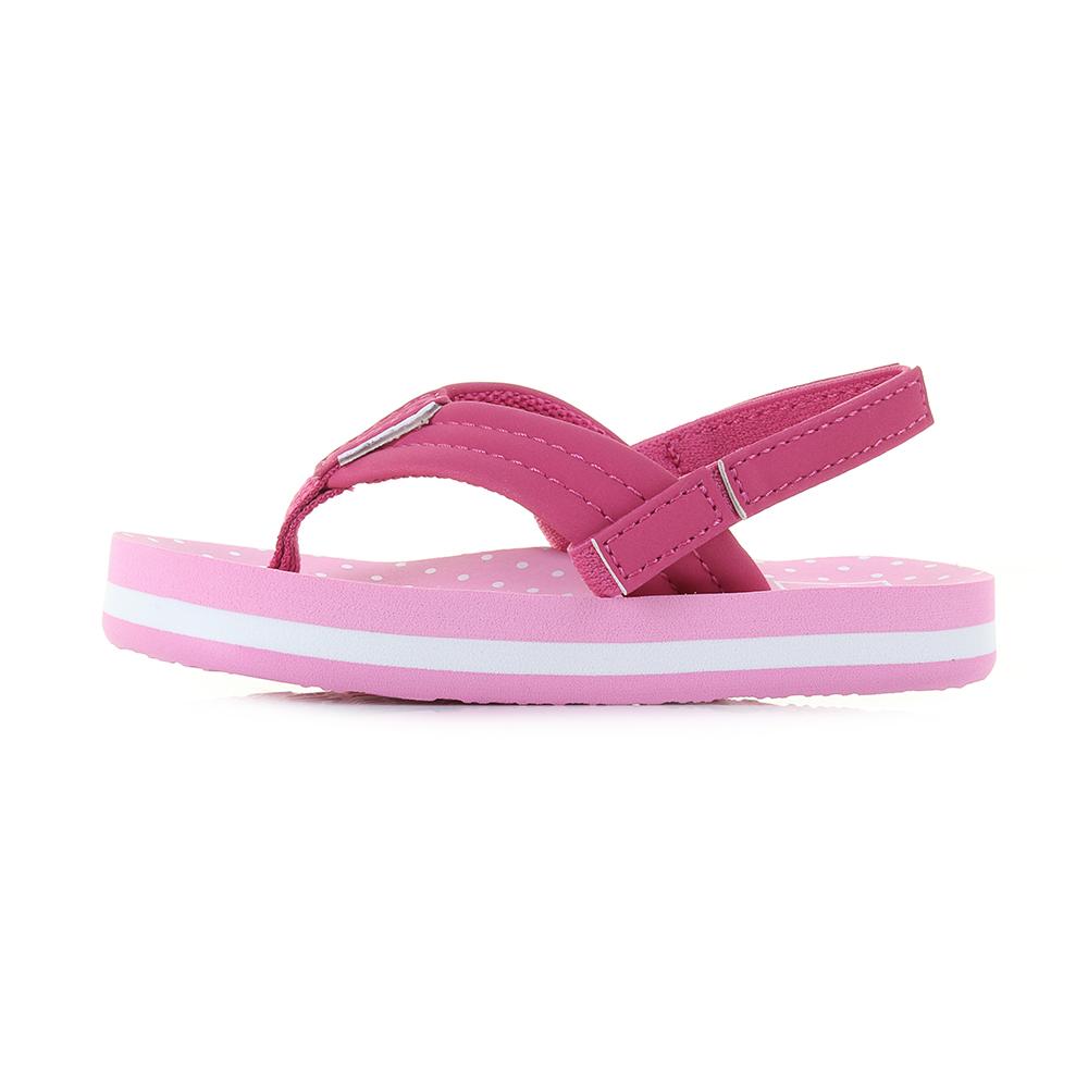 29b1f7904 Kids Girls Reef Little AHI Pink Polka Dot Comfort Beach Flip Flop Sandals  Shu S