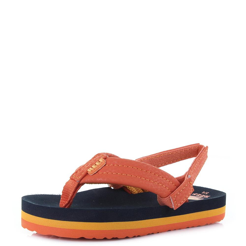 e3aae859d Kids Boys Reef Little AHI Sunset Orange Comfort Beach Flip Flop Sandals Shu  Siz
