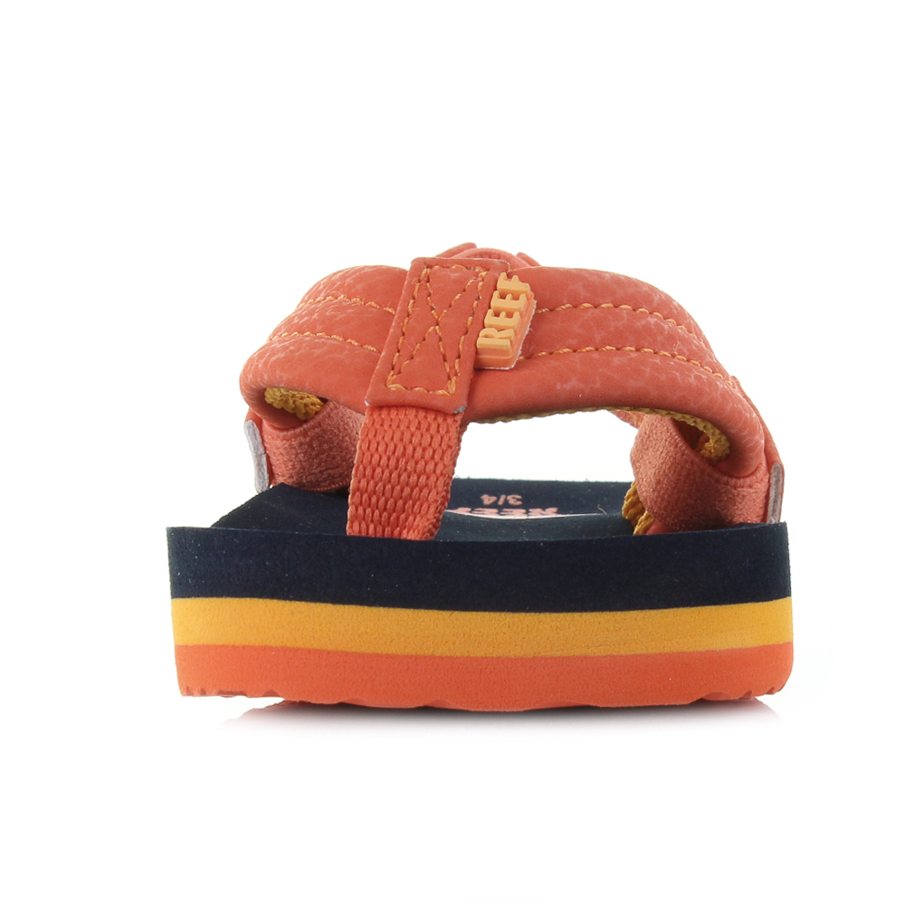 Kids Boys Reef Little AHI Sunset Orange Comfort Beach Flip Flop Sandals  Size