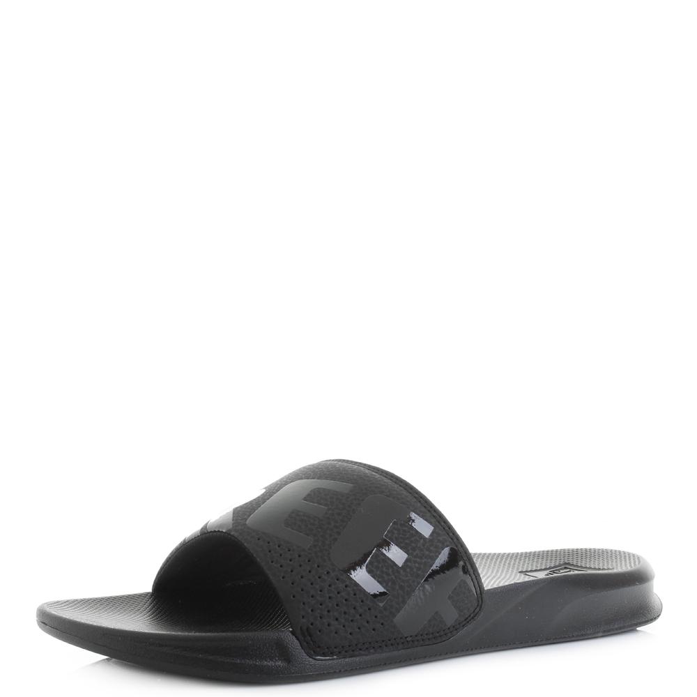 Mens Reef One Slide All Black Lightweight Casual Sliders -2768