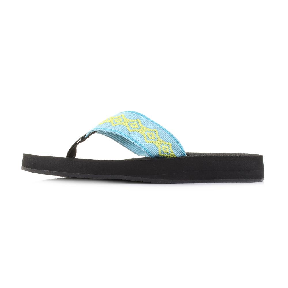 f7d2b8a34197 Womens Reef Sandy Aqua Blue Yellow Lightweight Flip Flops Shu Size ...