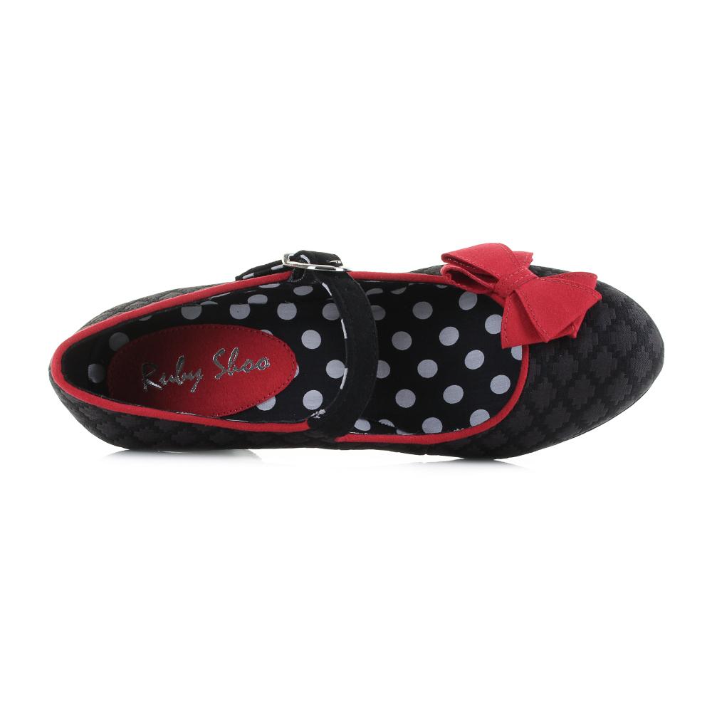 Womens-Ruby-Shoo-Crystal-Black-Red-Mary-Jane-Vegan-Friendly-Heels-Shoes-Shu-Size thumbnail 5