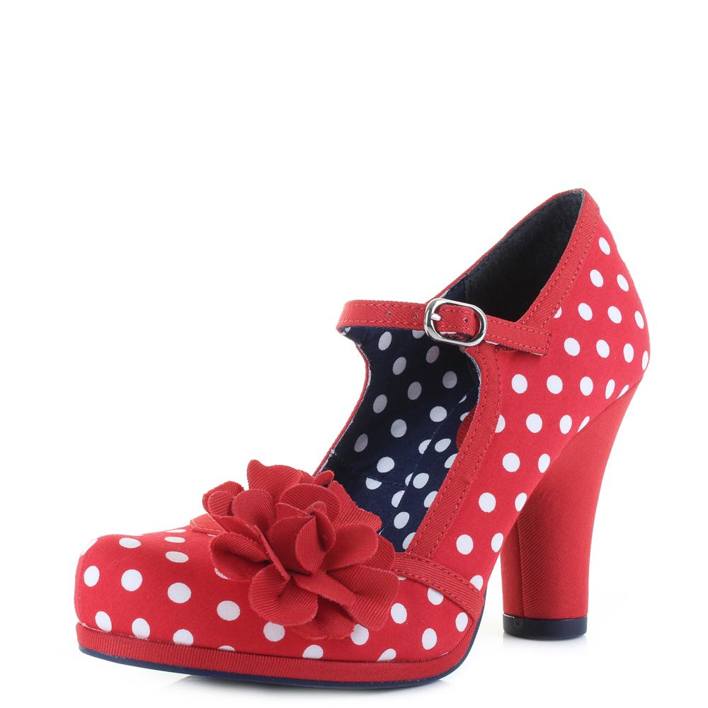 59459b4049 Details about Womens Ruby Shoo Hannah Red Polka Dot Spots Vegan Friendly  Shoes Shu Size