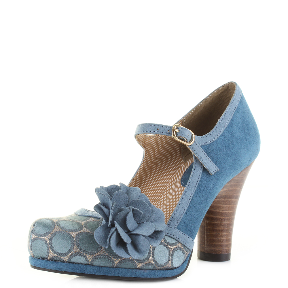 762aee59c8a3 Womens Ruby Shoo Hannah Teal Blue Mary Jane Style Court Shoes Shu Size
