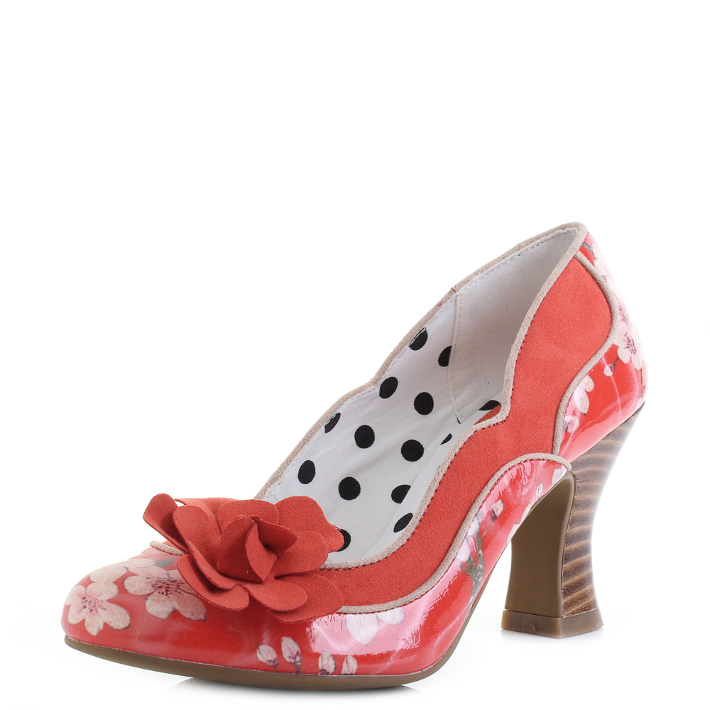 308a822bae3 Details about Womens Ruby Shoo Viola Coral Orange Floral High Heel Shoes  Shu Size
