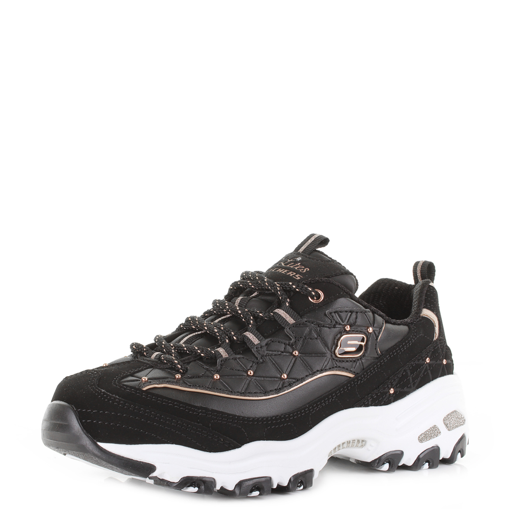 b502bb09ef61 Womens Skechers D Lights Glamour Feels Black Rose Gold Chunky Trainers Shu  Size