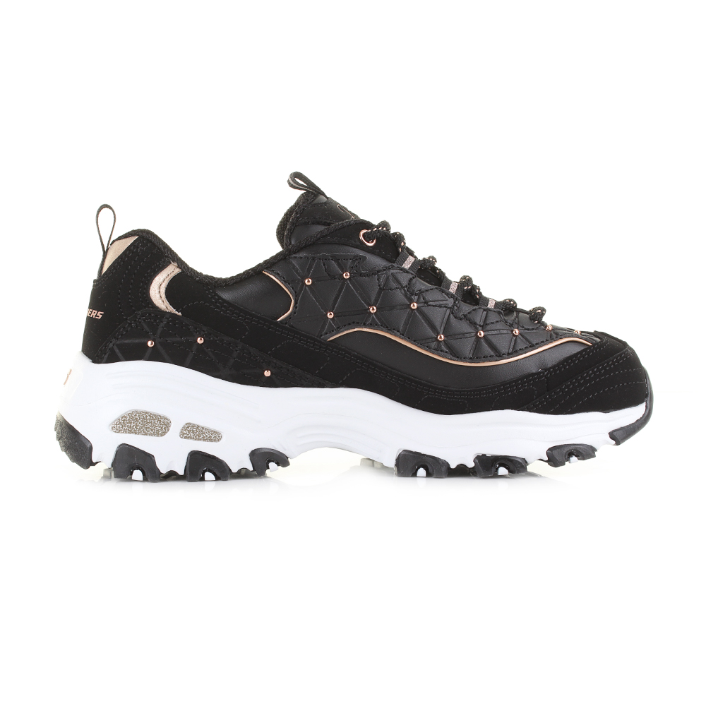 3c48d5dac03a Womens Skechers D Lights Glamour Feels Black Rose Gold Chunky Trainers Sz  Size
