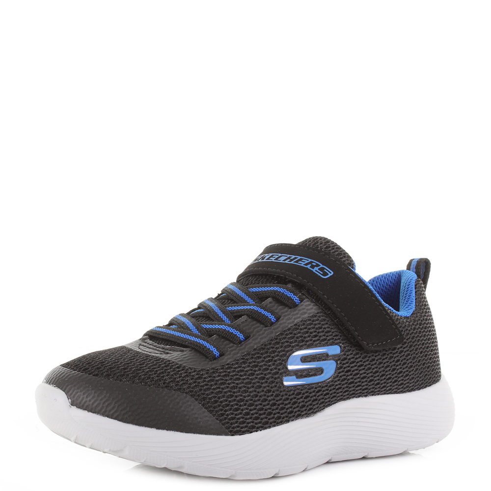 09e277e66c5 Details about Kids Skechers Dyna Lite Black Royal Blue Casual Comfort  Sports Trainers Shu Size