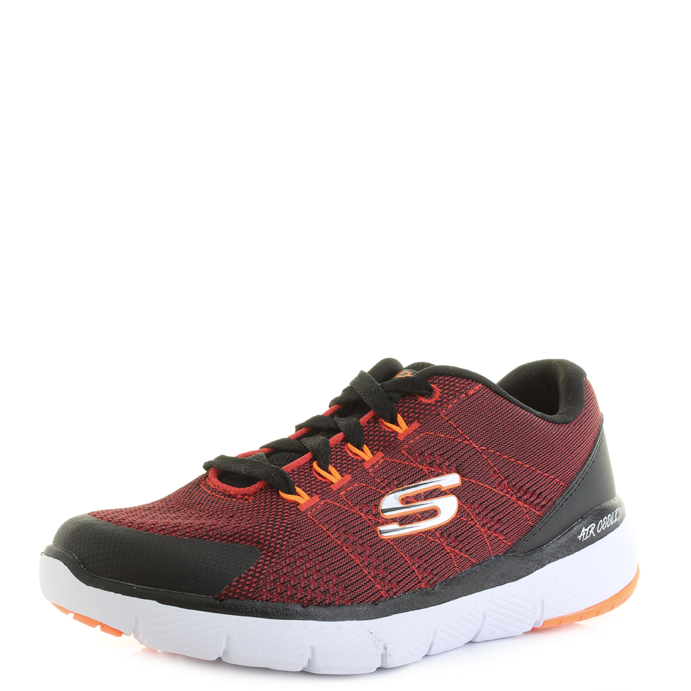 6ee9c375 Details about Kids Skechers Flex Advantage 3.0 Stally Red Black Lace Up  Trainers Size