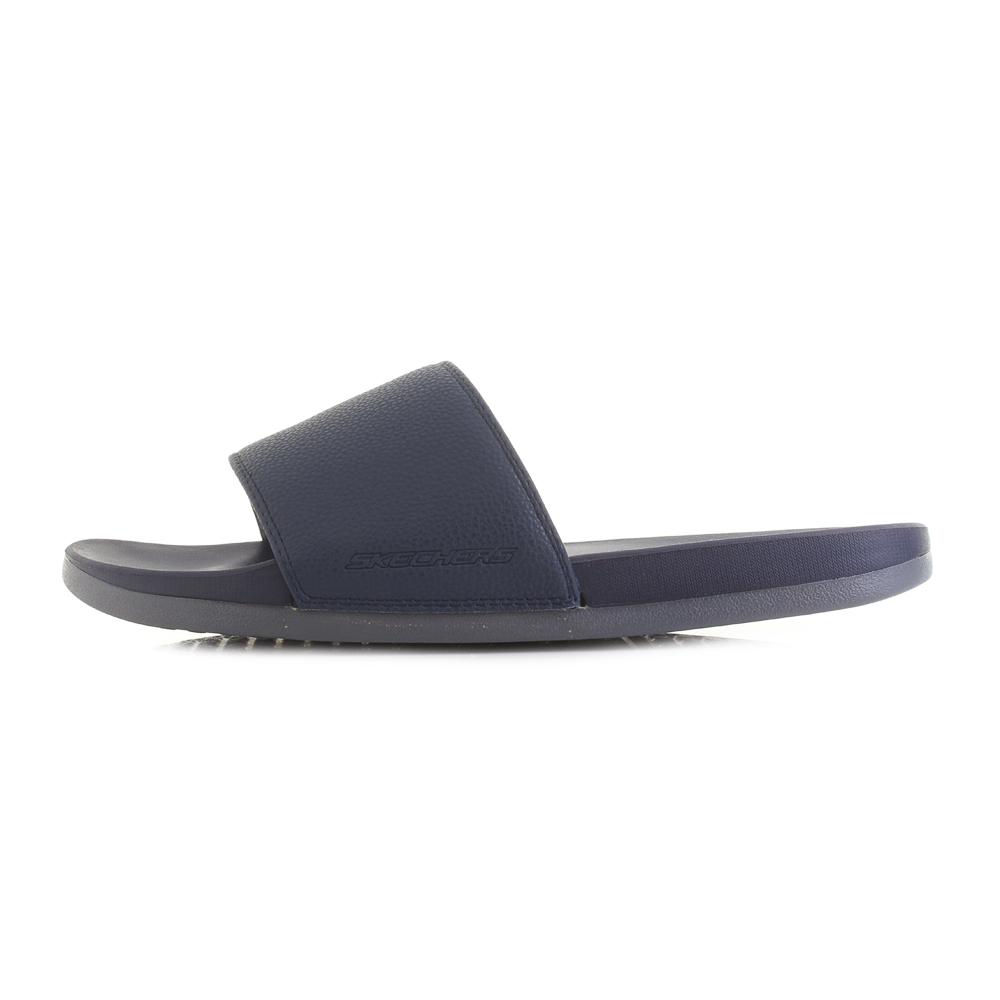 Mens Skechers Gambix Navy Grey Slide On Comfort Flip Flops Sandals Size Flip Flops Men's Shoes