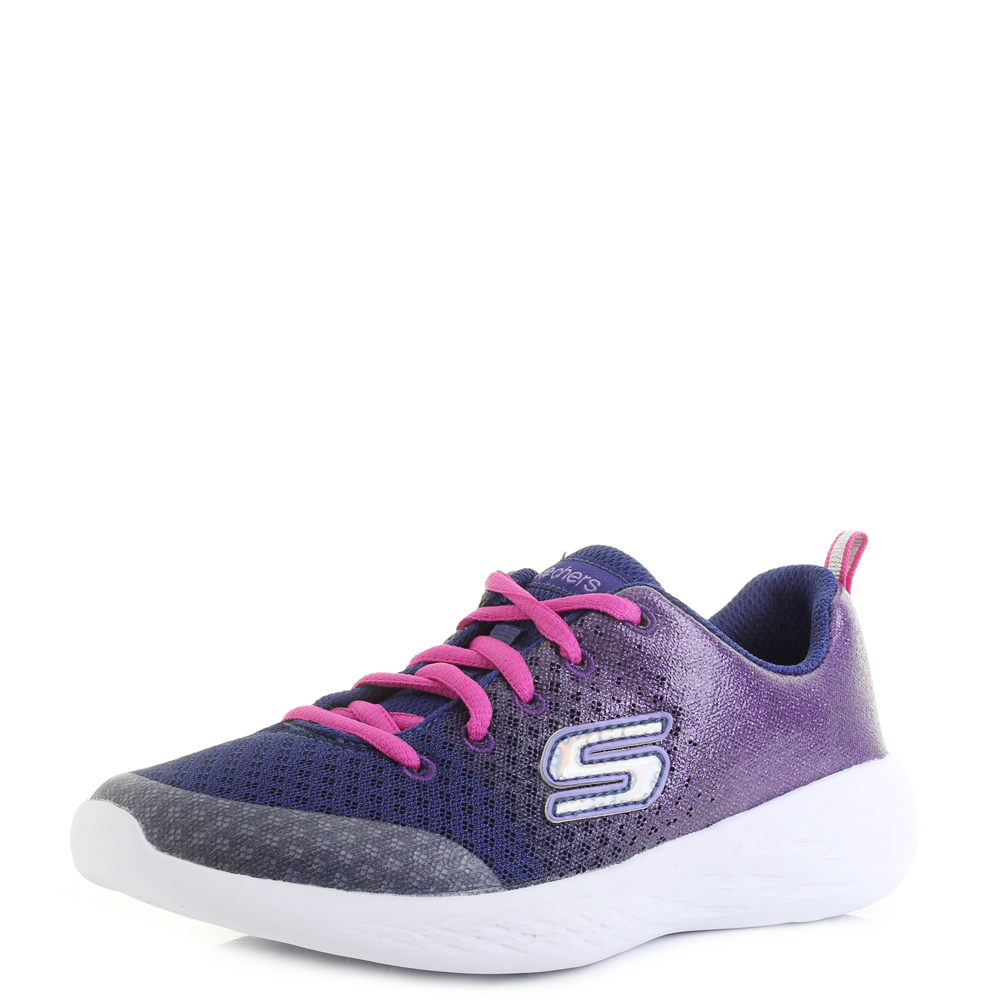 eb40af4e0bd1 Kids Skechers Go Run 600 Sparkle Speed Navy Pink Lightweight Trainers Shu  Size
