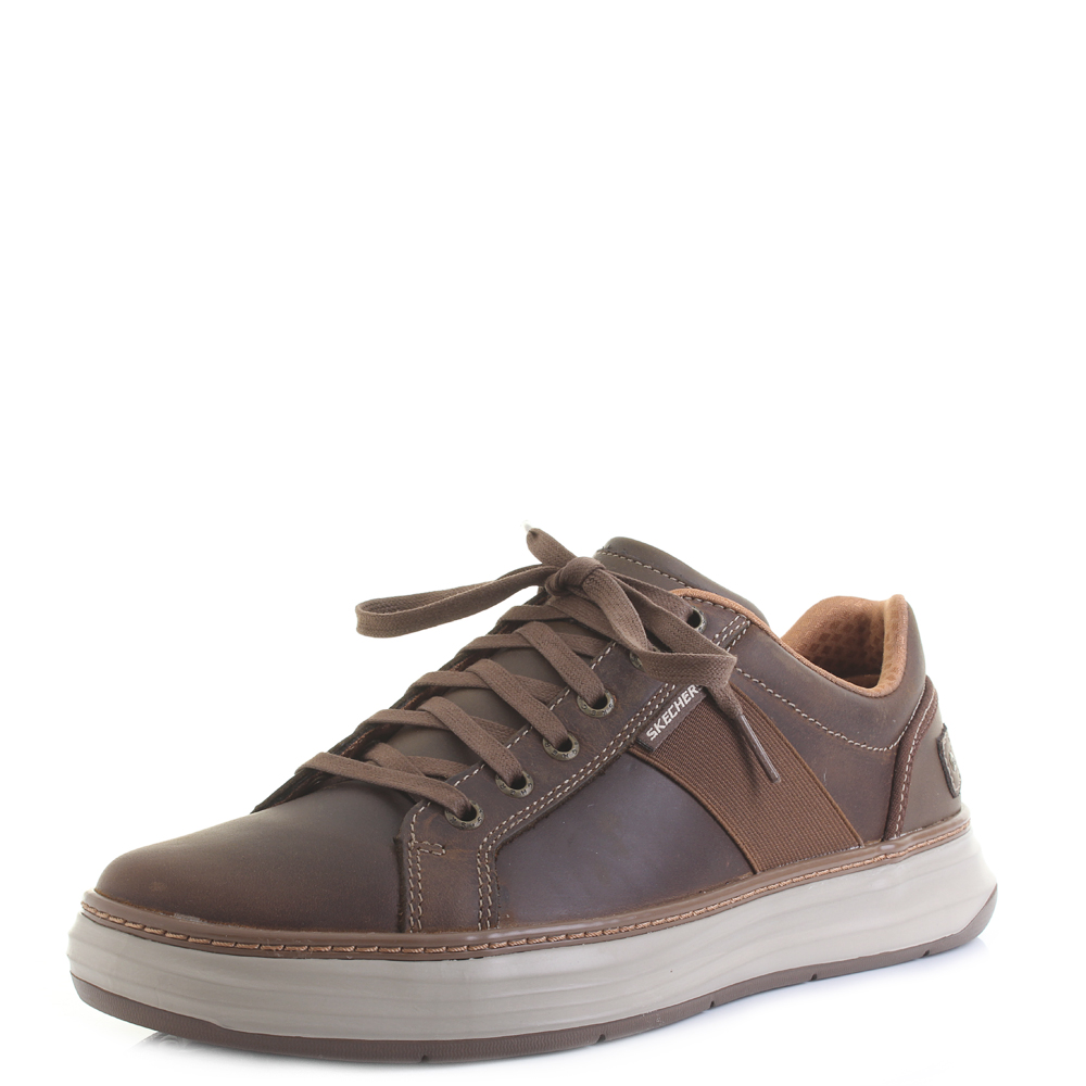 Shop Skechers Men's Moreno Winsor Oxford Dark Brown On