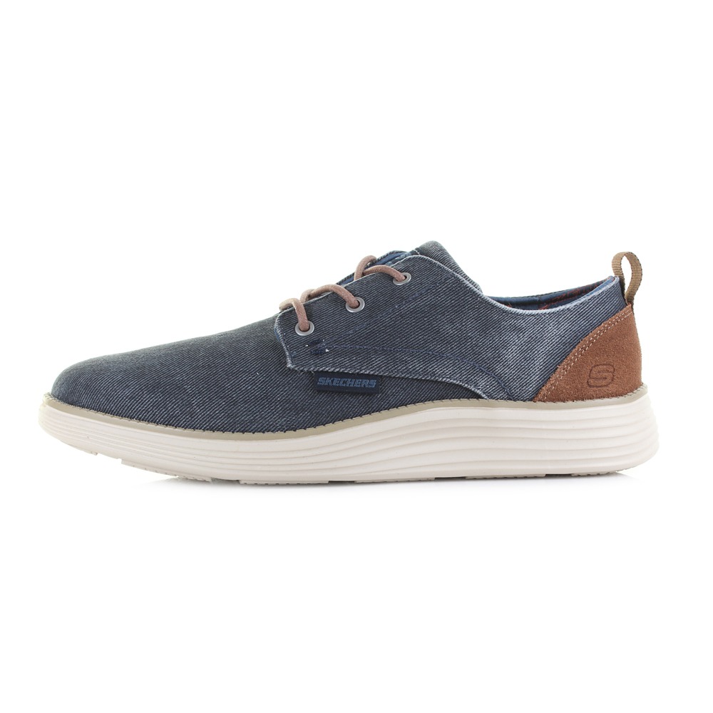3879a43886e8 Mens Skechers Status 2.0 Pexton Navy Canvas Lace Up Shoes Shu Size ...