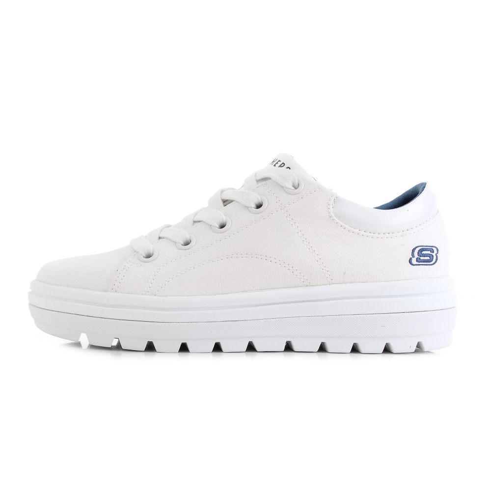 Details about Womens Skechers Street Cleat Bring It Back All White Classic Trainers UK Size
