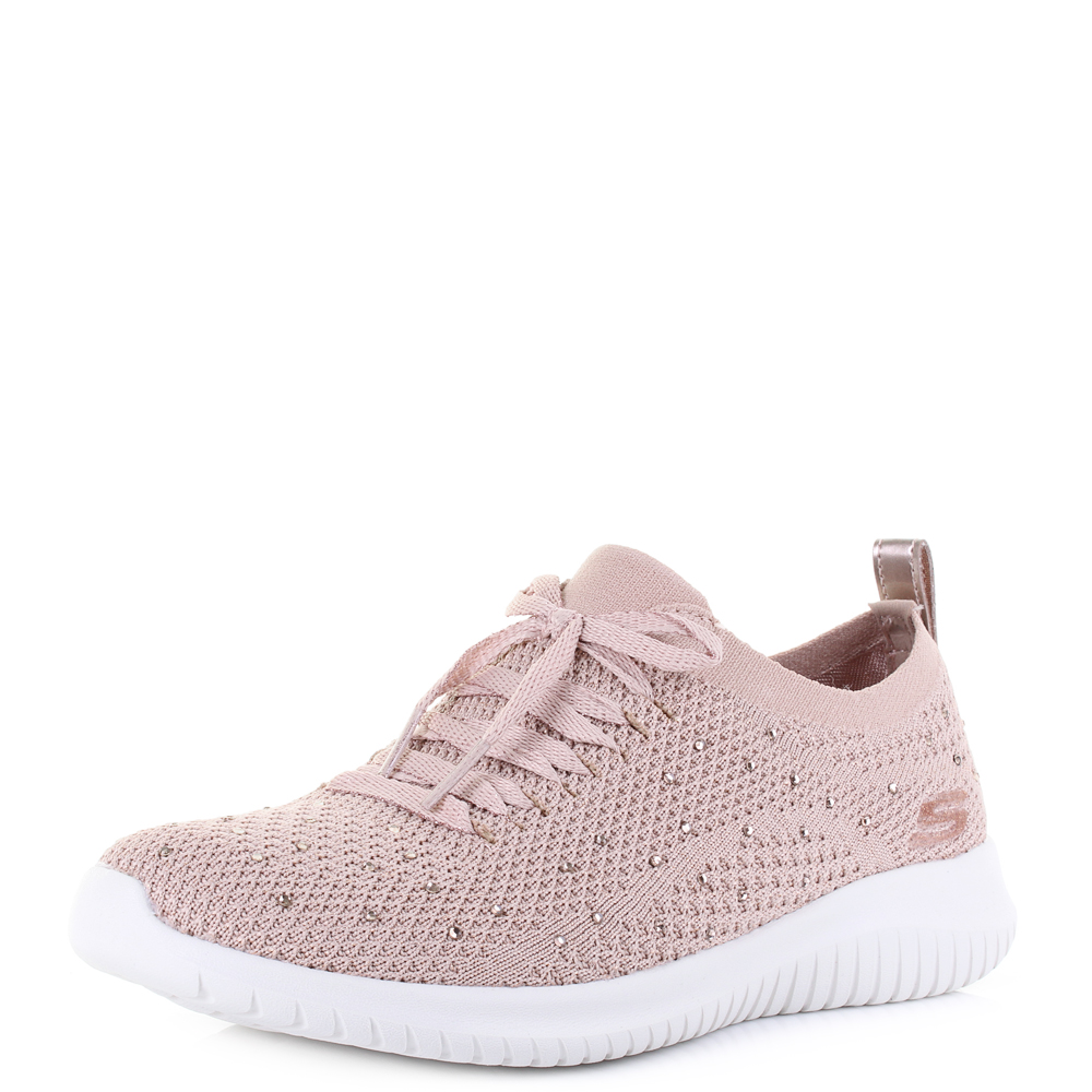 check out 64a3d 9c3b1 Womens Skechers Ultra Flex Strolling Out Rose Gold Metallic Sock Trainer  Shu Siz