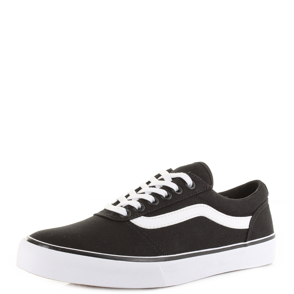 6a1d6a90fa0c Womens Vans Maddie Canvas Black White Slim Casual Trainers Size