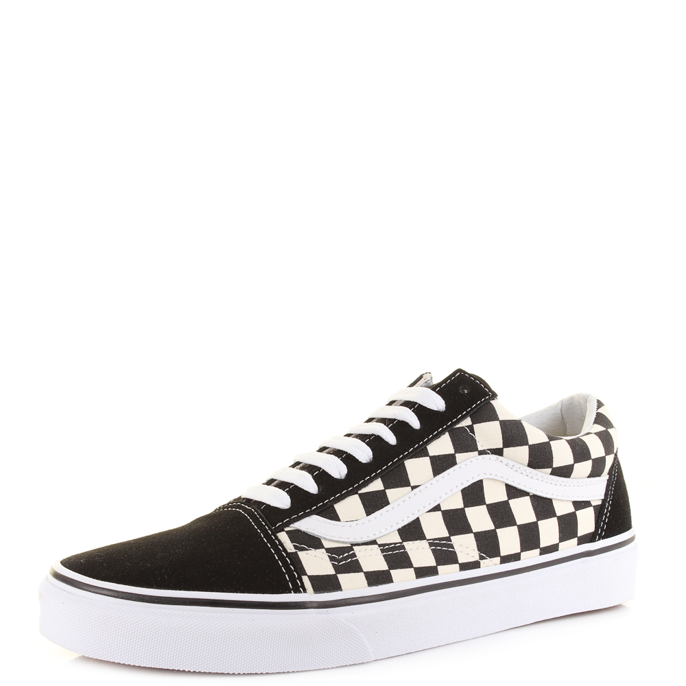 9d1a8a1712fc Vans Old Skool (Primary Check) Black and White Classic Skate Trainers UK  Size