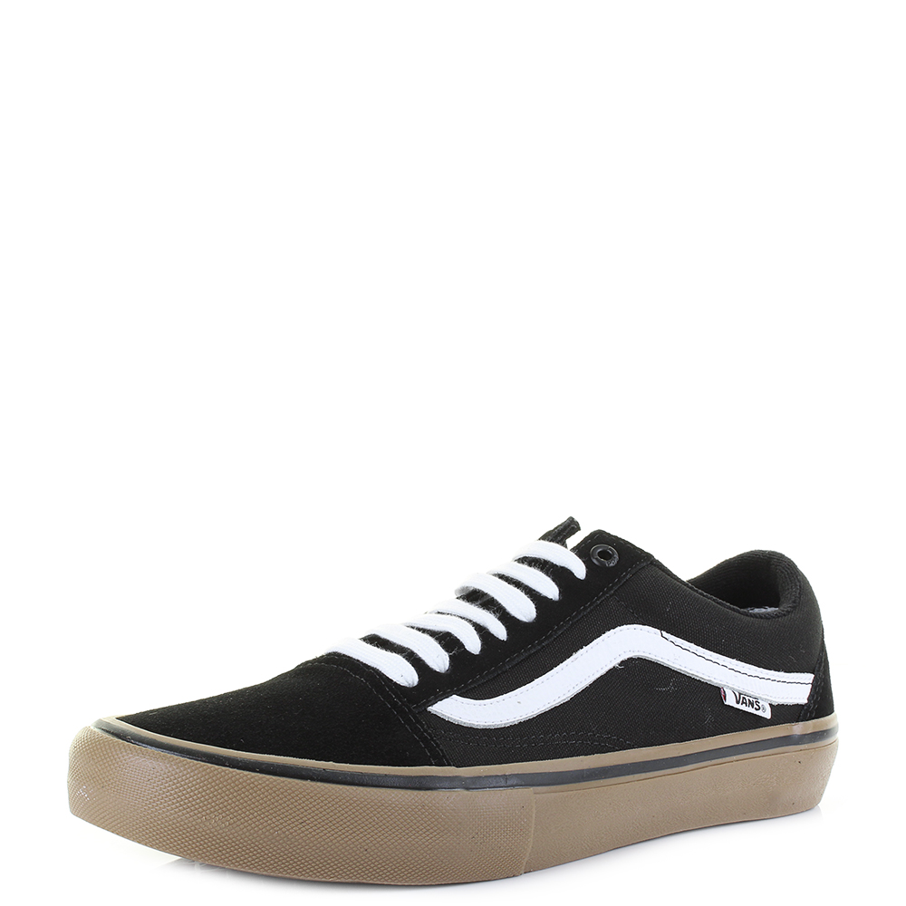 5d9a48b55454 Details about Mens Vans Old Skool Pro Black White Gum Suede Canvas Skate  Trainers Size