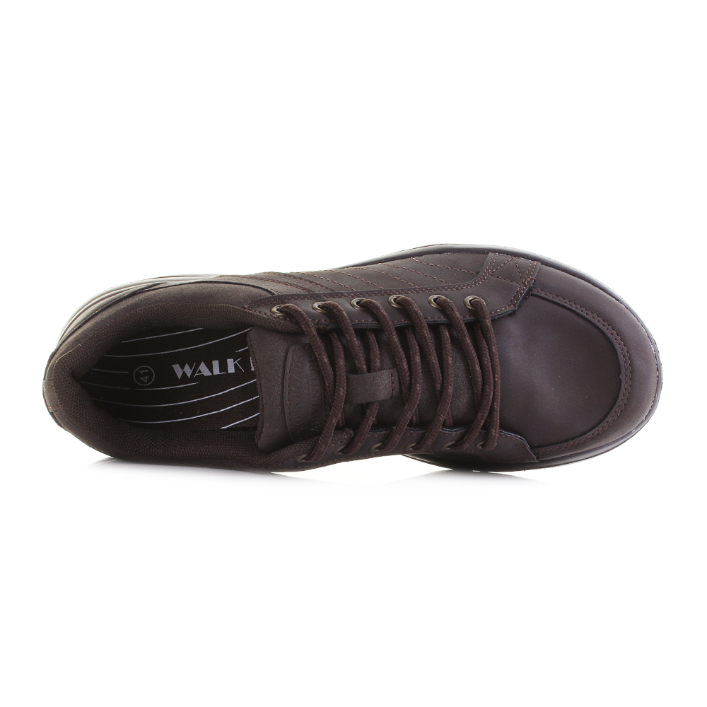 Mens Walk Pro Lace Up Black Lightweight Casual Smart Trainers Size