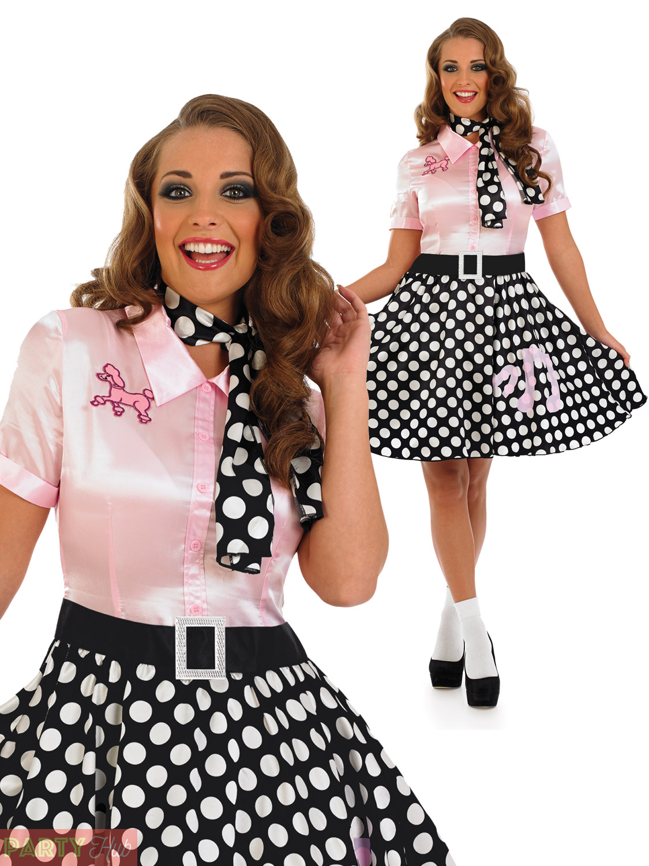 Ladies 1950s Rock N Roll Dress Womens Poodle Grease Fancy Dress Costume Outfit Ebay