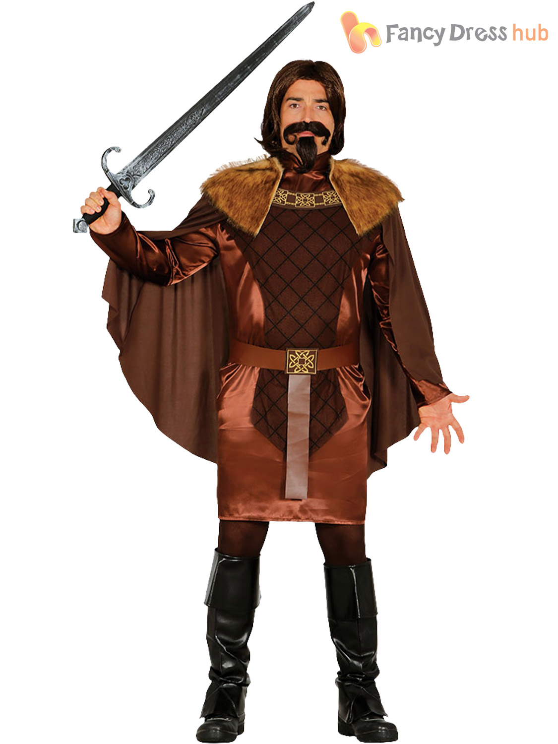 Mens-Medieval-Knight-Costume-Adults-King-Warrior-Fancy-  sc 1 st  eBay & Mens Medieval Knight Costume Adults King Warrior Fancy Dress History ...