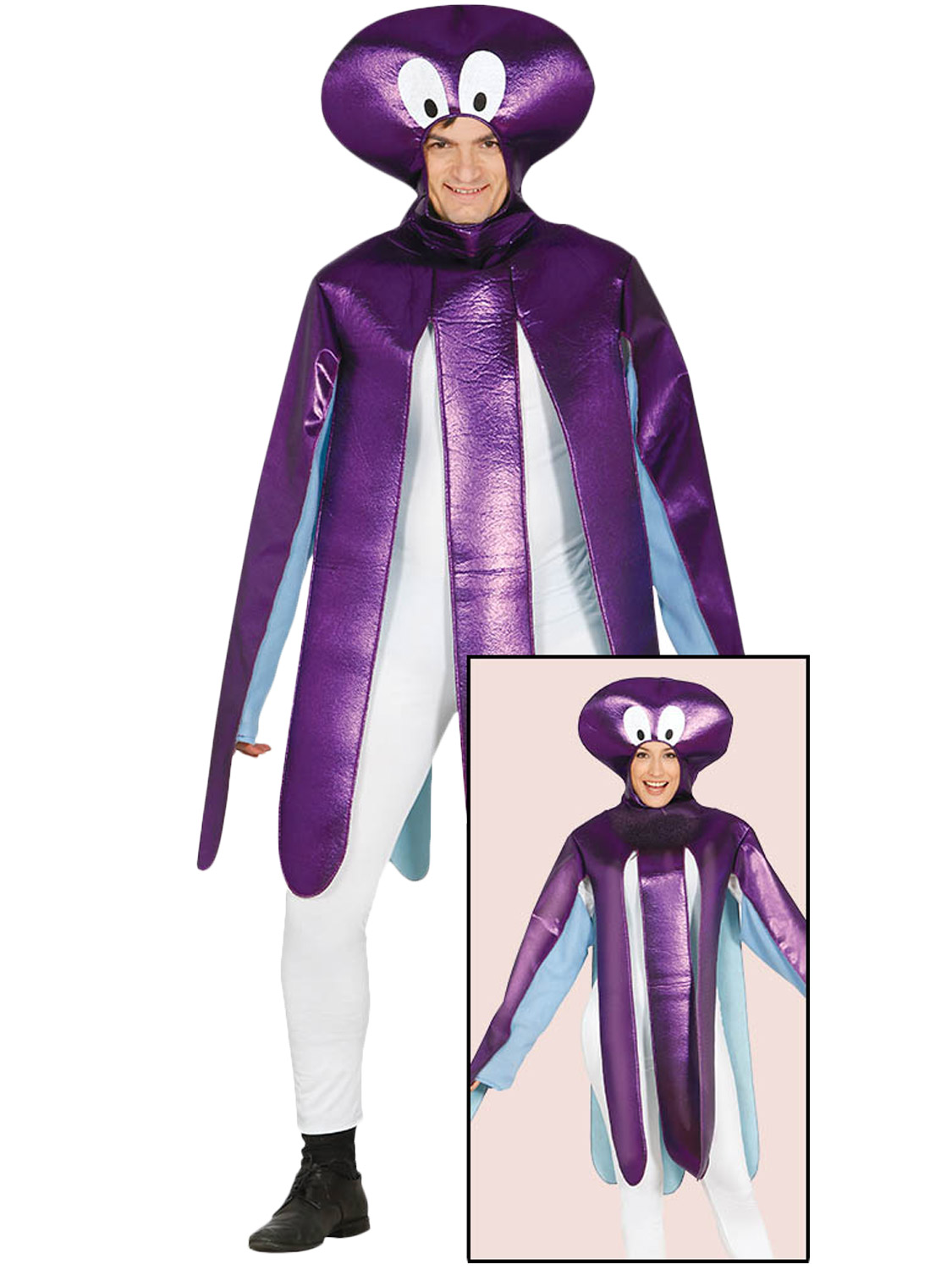 Adults Octopus Costume Mens Squid Sea Life Animal Fancy Dress ...