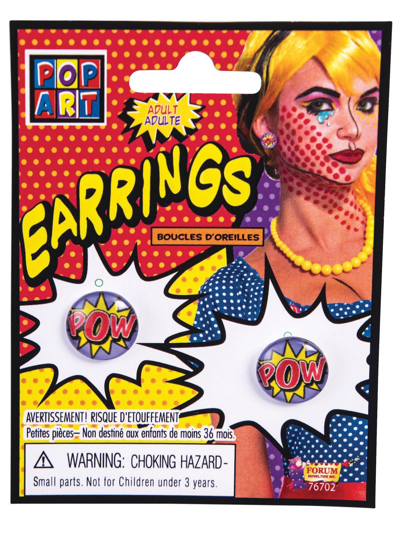 pop art pow earrings all accessories fancy dress hub