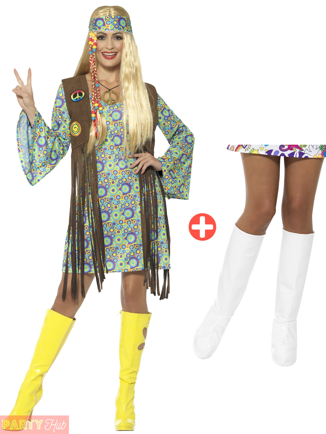 Ladies 60s Hippie Fancy Dress Costume + Boot Covers Adult ...