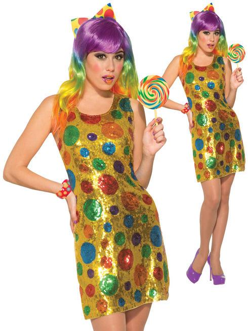 Ladies Sequin Clown Costume