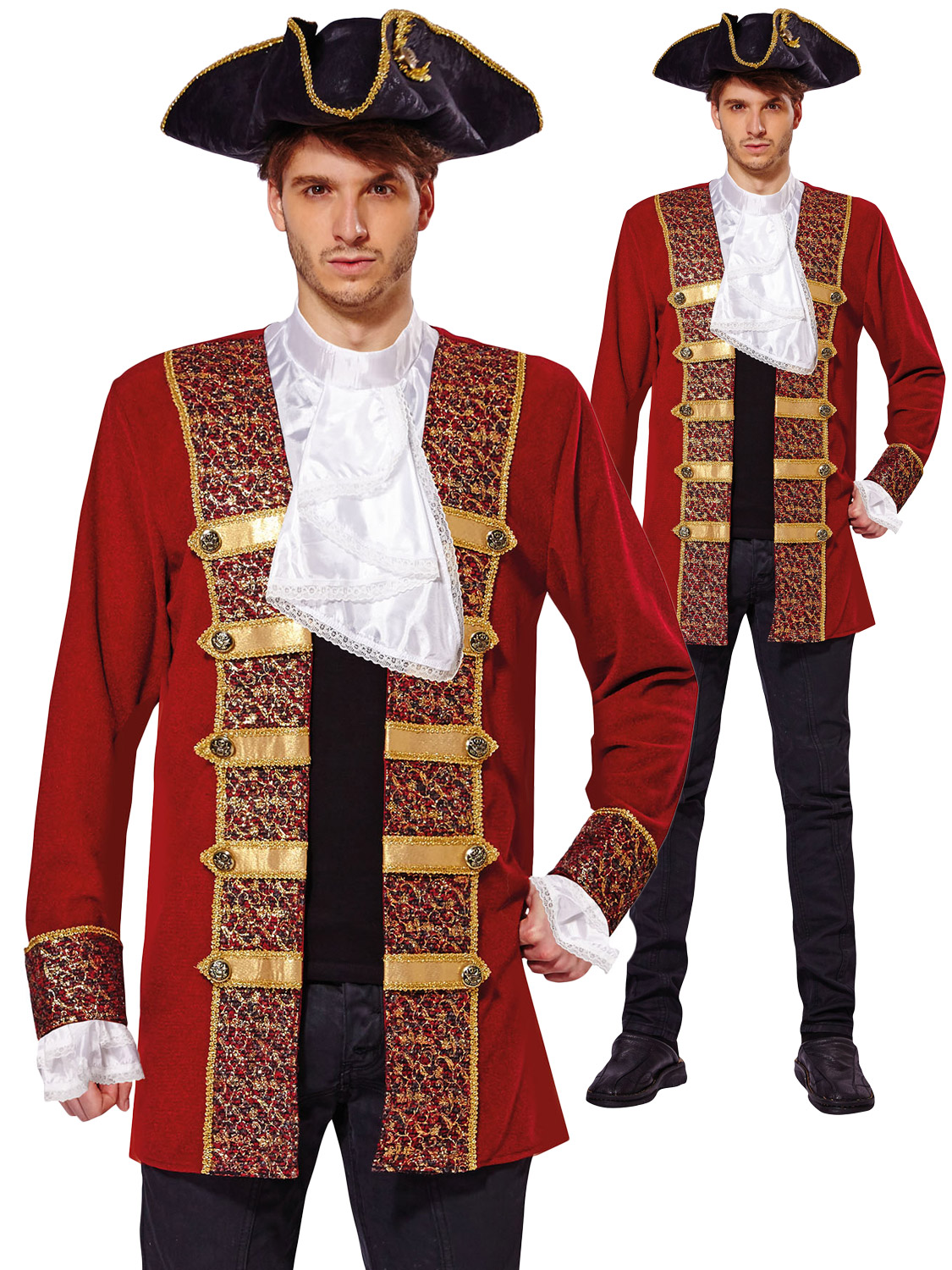 18c3a2c7 Details about Adult Deluxe Pirate Coat Mens Buccaneer Caribbean Fancy Dress  Costume Outfit