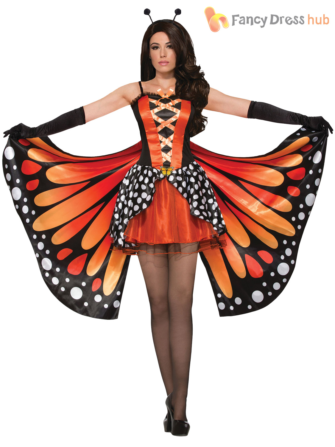 Ladies-Monarch-Butterfly-Costume-Womens-Animal-Fairy-Fancy-Dress-Adults-Outfit