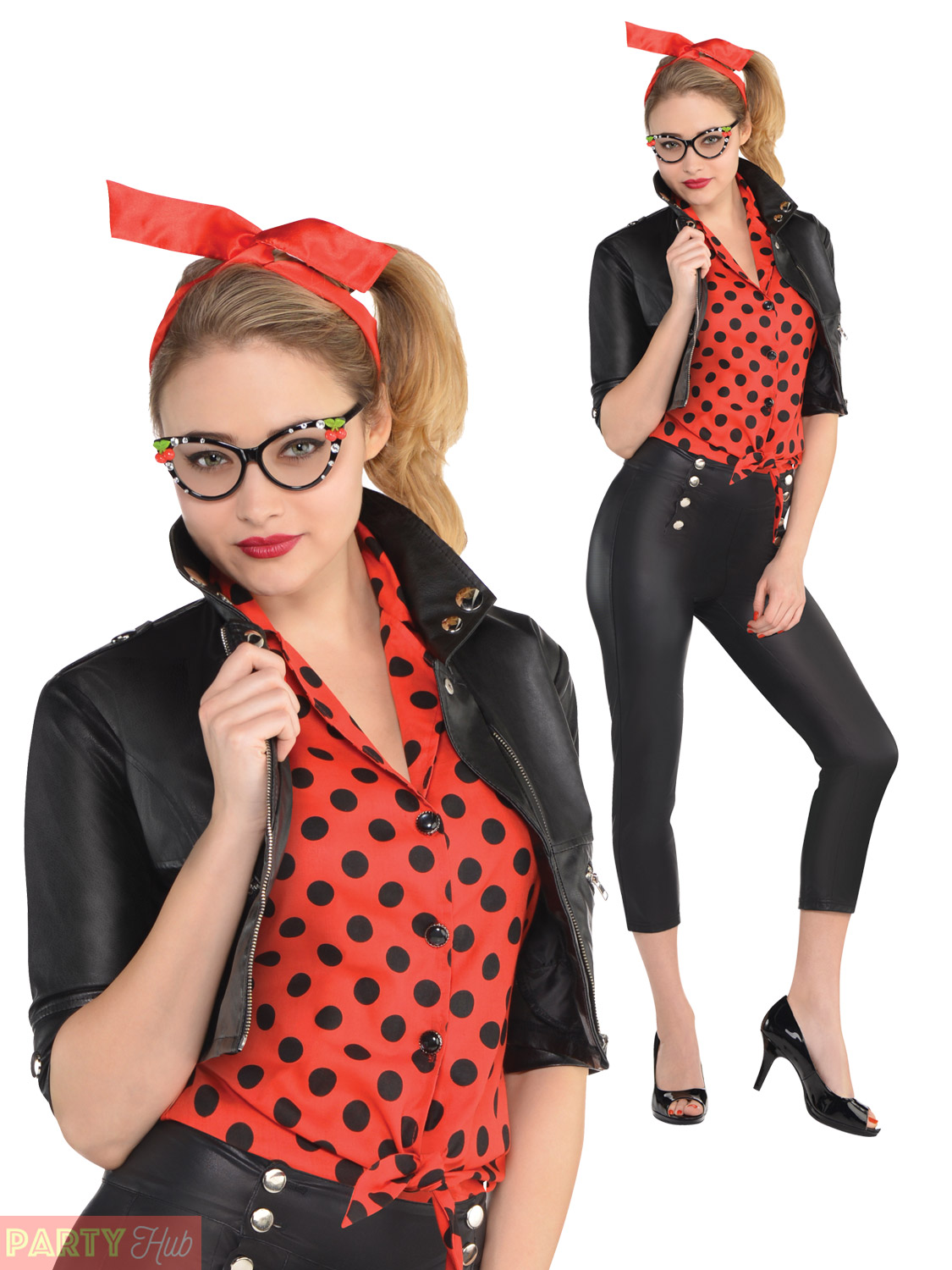 Details about Ladies Rockin Rebel Costume Womens 50s 60s Sexy Rock n Roll  Fancy Dress Outfit