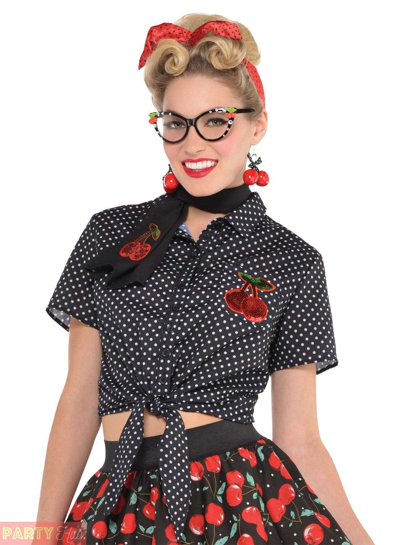 rockabilly blouse size medium - fancy dress ladies costume