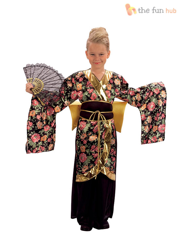 Geisha-Kimono-Girls-Fancy-Dress-Japanese-National-Dress-  sc 1 st  eBay & Geisha Kimono Girls Fancy Dress Japanese National Dress Kids Costume ...