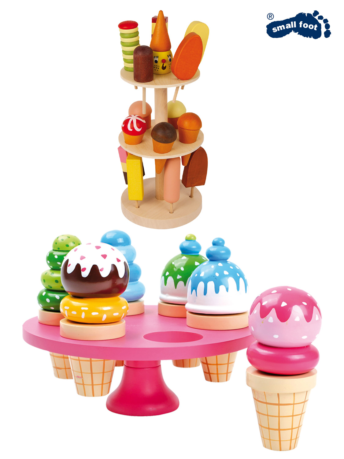 details about wooden ice cream toy food role play kitchen teddy bear picnic  childrens girls
