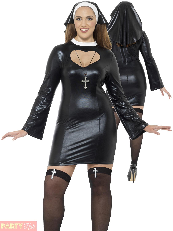 Ladies Curves Nun Costume Womens Plus Size Sexy Religious ...